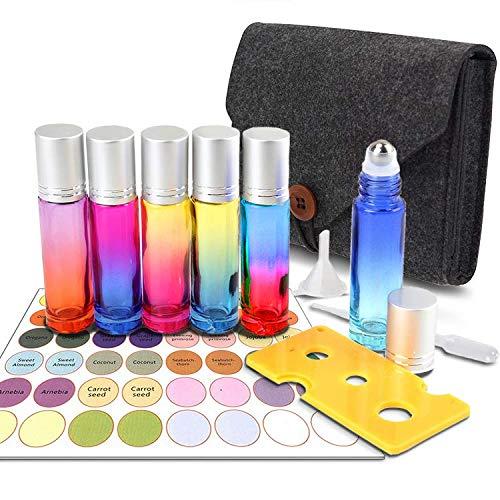 6Pcs Roll On Glasflaschen mit Tragetasche - 10ml Glasroller Nachfüllbarer Behälter für ätherische Öle, Aromatherapie, Duftstoff, Glasaufsatz, Zuhause und Reisen