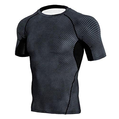 Xmiral Maglia Compressione Termica da Uomo in Pile Manica Corte Top Baselayer Maglietta per Sport (S,1Nero)