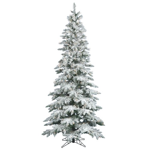 Vickerman Flocked Slim Utica Tree with Dura-Lit 300 Clear Lights, 6.5-Feet by 39-Inch