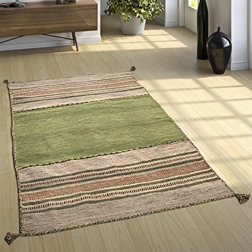 Paco Home Designer Teppich Webteppich Kelim Handgewebt 100% Baumwolle Modern Gemustert Grün, Grösse:80x150 cm