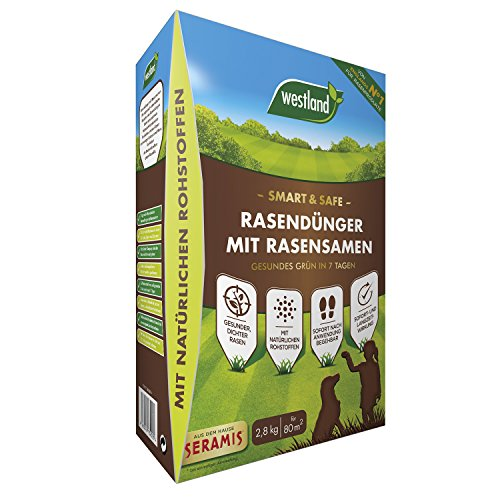 Westland Smart & Safe Rasendünger mit Rasensamen, Gesundes Grün in 7 Tagen, Granulat, Dunkelbraun, 2,8 kg, 80 m²