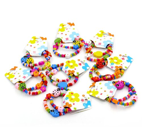 CKB Ltd 24x mixto de la mujer al por mayor ropa de cama, madera elástica pulseras mariquita Bead elástica pulseras colores variados 18cm