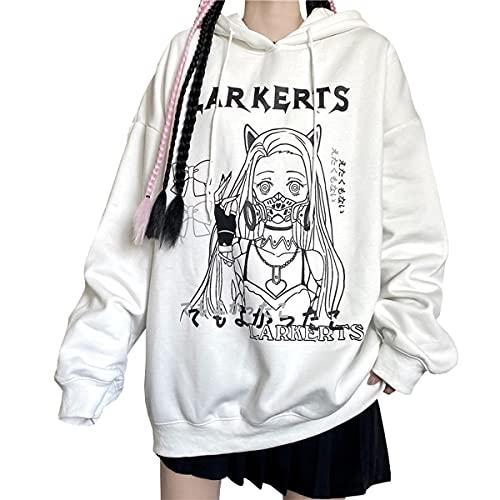 Goth Ropa Anime Manga Sudaderas Mujer Jersey E-Girl Kawaii Y2k Aesthetic Tops Niña A-14 (White,XL,XL)