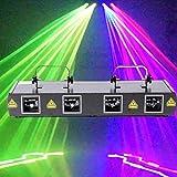 DJ Bühnenlichter, 4 Linsen RGB Disco Licht Partylicht Sound-aktivierte Bühneneffekt Beleuchtung...