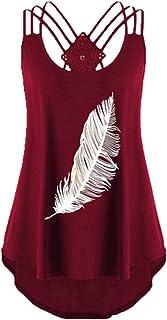 Camiseta para mujer con estampado de plumas y encaje