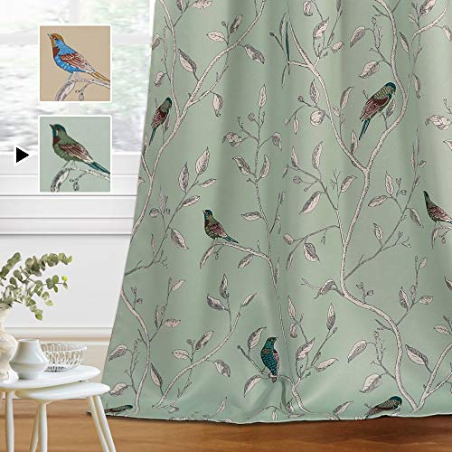 H.VERSAILTEX Blackout Curtains for Bedroom 84 Inches Length Thermal Insulated Birds Rustic Printed Curtain Drapes for Living Room Energy Efficient Room Darkening Home Decoration Pair 2 Panels, Sage
