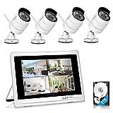 Yeskamo Cámara de vigilancia exterior Wifi set 1080P Full HD 4canales de vídeo-vigilancia, con monitor, sistema de vigilancia inalámbrico