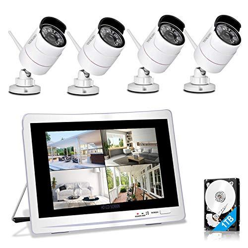 """YESKAMO Überwachungskamera Set Aussen Wlan mit 4 x 1080P WiFi Wasserdicht Kameras 12\"""" HD 2,0 Megapixel Monitor Vorinstalliert 1TB Festplatte Videoüberwachungssystem mit Nachtsicht Bewegungserkennung"""