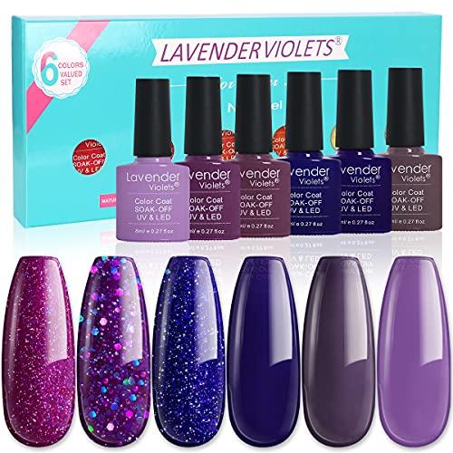 Lavender Violets Nail Gel Polish Kit UV LED Soakoff Gel 6.Bot F803