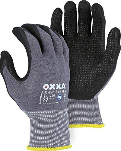 Majestic Glove 51-295/M OXXA X-Pro-Flex NFT Plus Dots Gloves, Medium, Gray/Black (Pack of 12)
