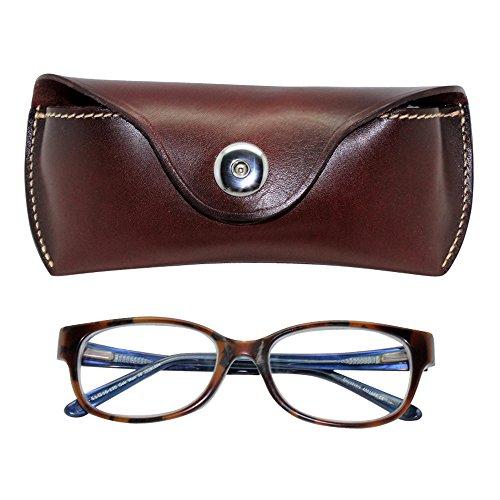 Boshiho Retro Cowhide Leather Reading Glasses Eyeglass Case Sunglasses Holder (Dark Brown)