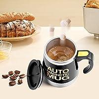 𝐂𝐡𝐫𝐢𝐬𝐭𝐦𝐚𝐬 𝐃𝐞𝐚𝐥 電気自動ミキシングカップ、気密蓋付きステンレス製マグカップ、コーヒーミルクミックスジュースドリンクフレンドコーヒーラバー用の攪拌用ドリンクホール(黒)