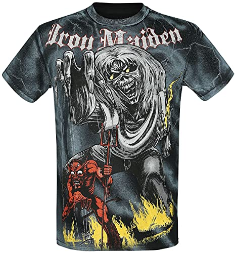 Iron Maiden Sketched Number of The Beast Allover Hombre Camiseta Estampado XL,...