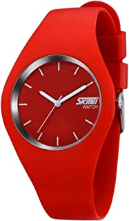 TONSHEN Simple Fashion Analog Quartz Watch Rubber Band Casual Style Wrist Watches for Women Girl 12 Colours (Red)