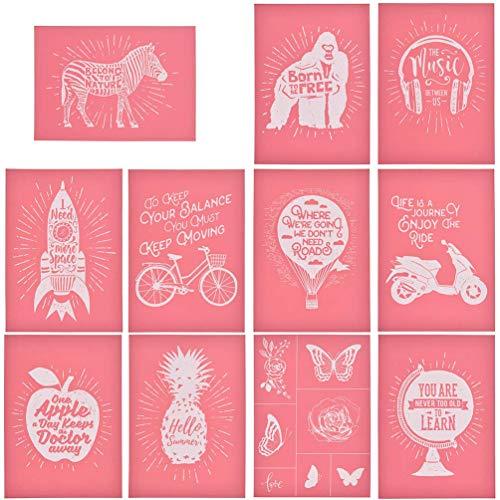 CHZIMADE Selbstklebende Siebdruck-Schablone für Taschen, T-Shirts, Papier und Heimdekoration 11-teiliges Set mit Tieren und Früchten