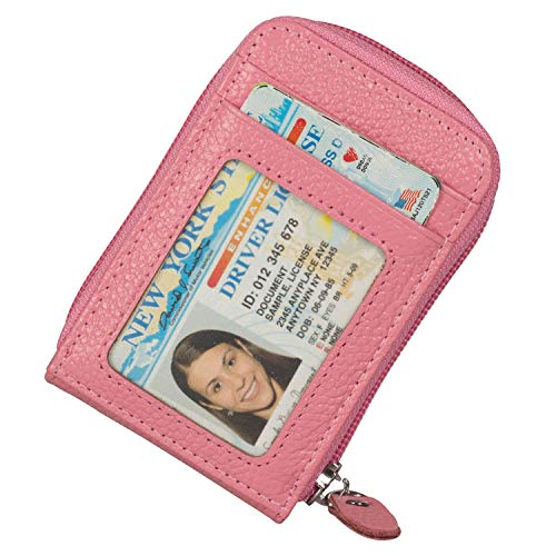 Noedy RFID Blocking Credit Card Case Organizer Genuine Leather Zip-Around Security Wallet Pink
