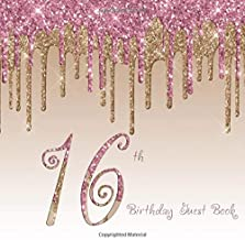 16th Birthday Guest Book: 16th - Blush Pink Gold Dripping Glitter Sixteenth Party Guestbook Hand Drawn Designs Keepsake Me...