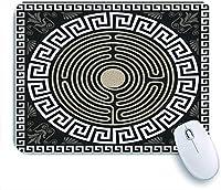 ECOMAOMI 可愛いマウスパッド 伝統的なヴィンテージの白いギリシャの装飾品(蛇行)と黒い背景の波のパターン 滑り止めゴムバッキングマウスパッドノートブックコンピュータマウスマット