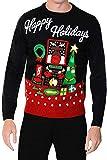 Adultos Navidad punto para hombres mujeres diseño de vacaciones-Jersey con luces negro large