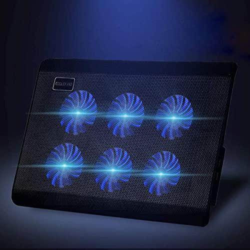 ノートパソコン用冷却パッド Vrumess ノートブック散熱器 ノートパソコン用冷却台 PCゲーム冷却フアン 6ファン数組合せパタン・ブルーLED搭載・高度調節・超静音 スタンド折畳み