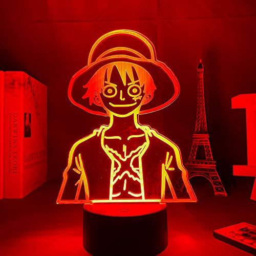 Luz nocturna LED 3D ilusión anime One Piece 3D lámpara Monkey D. Luffy LED luz nocturna para niños, dormitorio, juguete, Navidad, cumpleaños, lámpara de mesa, 7 colores táctiles