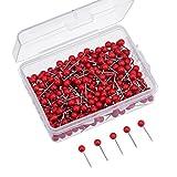Map Tacks Push Pins Small Size 300 Packs (Red, 1/8 Inch)