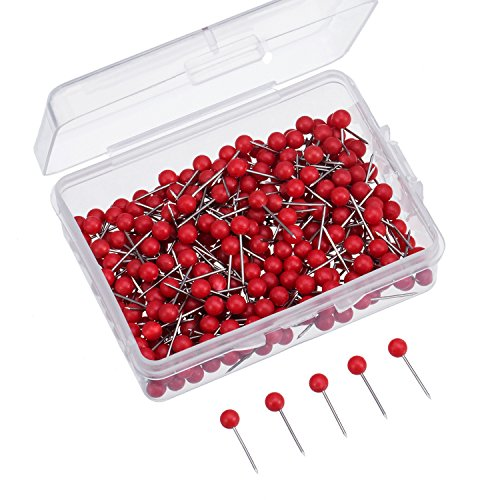Map Tacks Push Pins Small Size 300 Packs (Red, 1/8 Inch)