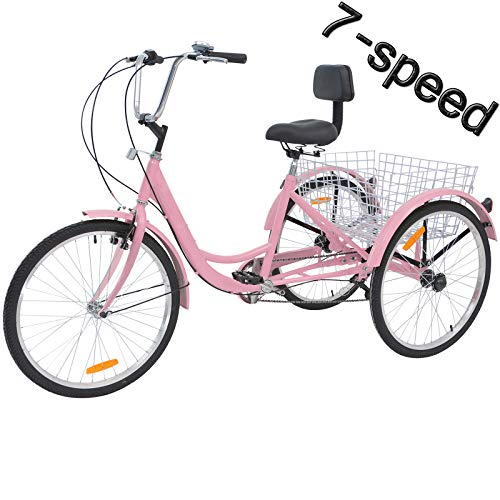 VANELL 7/1 Speed Tricycle Adult 20/24/26 in Trike Cruise Bike 3 Wheeled Bicycle W/Large Size Basket for Women Men Shopping Exercise Recreation (Cool Pink, 26 inch/ 7 Speed)