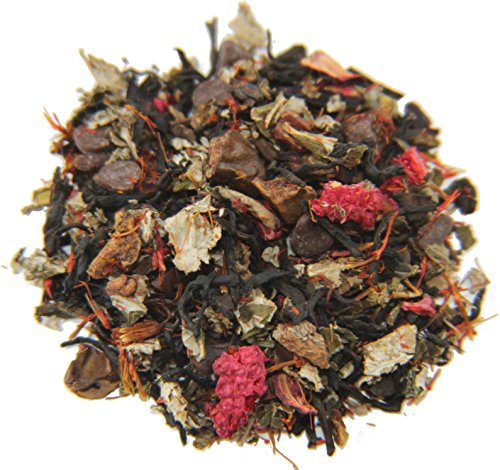 Nelson's Tea - Raspberry Chocolate Truffle - Black Loose Leaf Tea - Pu'erh tea, carob beans, hibiscus, raspberry leaf, safflower, chocolate chips, and raspberries - 4 oz.