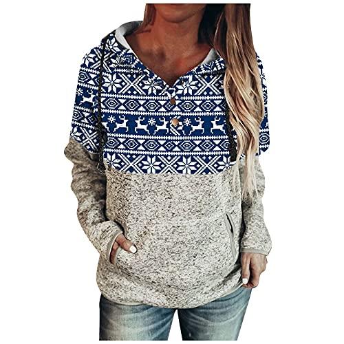kelei Sudadera con capucha para mujer con estampado de Navidad casual y estampado de empalme de manga larga (con bolsillo), #1 Azul, XXL