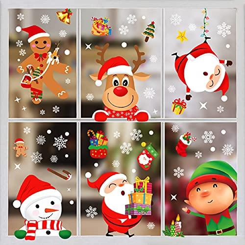 decorazioni natalizie negozi Yuson Girl Natale Adesivi Vetro Natale Vetrofanie Addobbi Natale Natale Vetrofanie Natale Adesivi Porta Decorazioni per Vetrine Negozi Casa Rimovibile Murali Fai da Te Sticke Statico Adesivi (A)