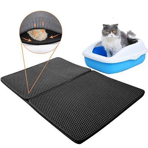 evomosa Estera del Trazador de Líneas de la Caja de Arena para Gatos, Estera Impermeable de la Arena de la Capa Doble del Diseño del Panal para el Gato 90x60cm (Negro)