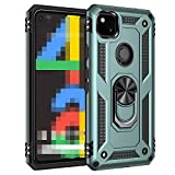 Pixel5 ケース/カバー 耐衝撃 TPU かっこいい 片手持ちに便利なリング付き カバー 頑丈 ソフトケース/カバー グーグル ピクセル5 一体型スマホリング付き おしゃれ スマートフォンケース/カバー[Pixel5(グリーン)]