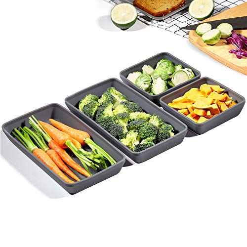 Silicone Nonstick Baking pan, Xomoo Silicone Pans Dividers Baking, Compartment Silicone Appetizer Serving Tray, Oven safe container for Cooking Easy Clean