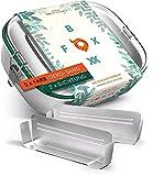 FOXBOXX® Personalisierbare Edelstahl Brotdose   Premium & Auslaufsicher   GRATIS  5 Farbringe zum Personalisieren + Ersatzdichtung + 2 Trennwände / 3 Fächer   Kinder & Erwachsene   Large 1200ml