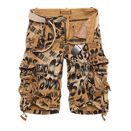 Pantalones cortos de carga estampados con bloqueo de color de personalidad para hombre, ropa de calle con tendencia a la moda, pantalones cortos sueltos con bolsillo de trabajo de combate al aire 31W