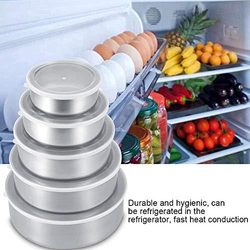 voedsel opslag doos - 5 eenheden roestvrij staal voedsel versheid zeehond kom opslag bewaardoos voedsel versheid kom