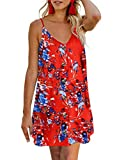 AlvaQ Women Summer Dress Sexy V Neck Button Down Floral Print Swing Mini Tunic Dresses Orange Medium