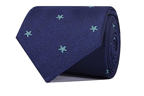 Sologemelos - Cravate Étoile - Bleue Marine 100% soie naturelle - Hommes - Taille Unique - Confection artesanale Made In Italy