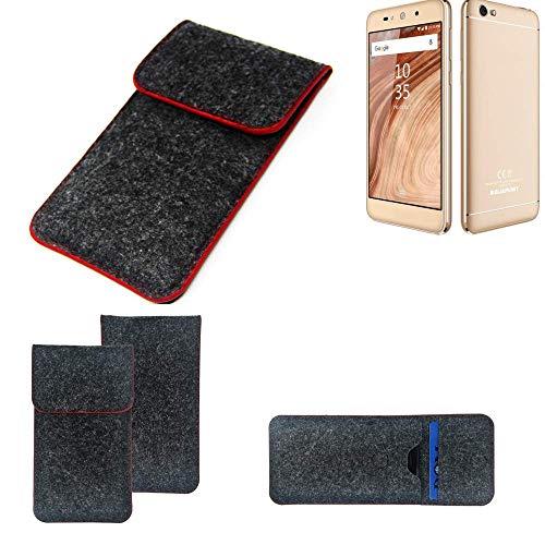K-S-Trade Handy Schutz Hülle Für Blaupunkt SL02 Schutzhülle Handyhülle Filztasche Pouch Tasche Hülle Sleeve Filzhülle Dunkelgrau Roter Rand