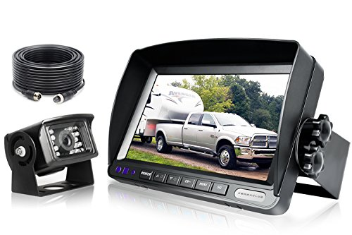 ZEROXCLUB Backup Camera System Kit,Sharp CCD Chip, 100% Not Wash Up,IP69 Waterproof Rear View Camera + 7'' LCD Reversing Monitor for Truck/Semi-Trailer/Box Truck/RV (ERY01-Wired)