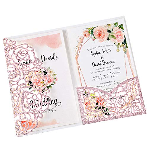DreamBuilt 4.7 x7 inch 25PCS Blank Rose Gold Glitter Wedding Invitations Kit Laser Cut Hollow Rose Pocket Wedding Invitation Cards with Envelopes for Wedding Bridal Shower Engagement Invite
