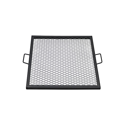 Sunnydaze X-Marks Fire Pit Cooking Grill Grate - Outdoor Square Metal BBQ Campfire Grill - Portable Outside Camping Gear Cookware - Bonfire Accessory - 24 Inch