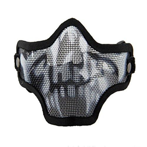 QMFIVE Máscara de Airsoft Malla de Acero táctico mascaras Mascara de Media Cara el Engranaje Protector para Airsoft Paintball(Cráneo)