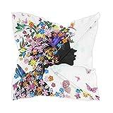 Linomo Bufanda de seda de gasa para mujer con flores, colibrí mariposa cuadrado chal abrigo de seda como bufanda