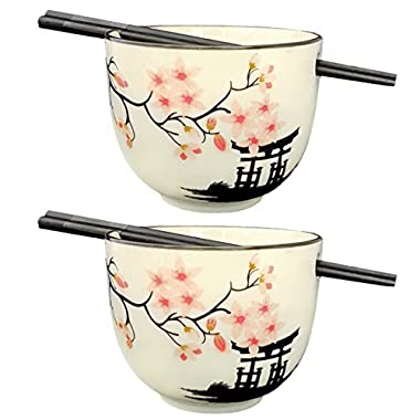 Happy Sales HSBS-CBWP2, Perfect 2 pc White and Pink Blossom Ramen Udon Noodle Soup Rice Cereal Bowls w/ Chopsticks