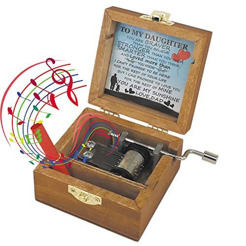 CYOUNG Scatole Musicali In Legno Fatti A Mano You Are My Sunshine, Regali Musicali Vintage In Legno Sunshine Per Compleanno/Natale (To My Wife)