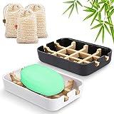 Seifenschalen aus Natur - Bambus Seifenhalter Nachhaltig mit Abtropfwanne,Tragbare Seifenkiste für...