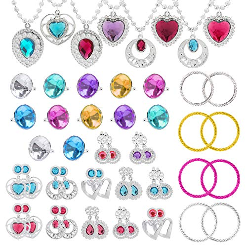 WATINC 52Pack Princess Pretend Jewelry Toy, Girls Jewelry Dress Up Play Set, Included Necklaces, Rings, Earrings and Bracelets, 52 Pack