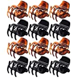 SUMAJU 12 Pieces Hair Claw Clips, Medium Size Hair Clip Clamps 3.5 cm Claw Clip Grip No-Slip Grip Jaw Clips for Women and Girls(Black and Brown)